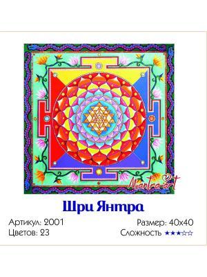 Живопись на холсте Шри Янтра + диск в подарок MantraArt. Цвет: белый