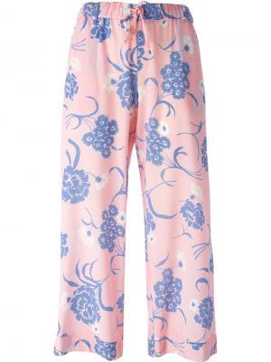 Укороченные брюки с цветочным принтом P.A.R.O.S.H.. Цвет: розовый и фиолетовый