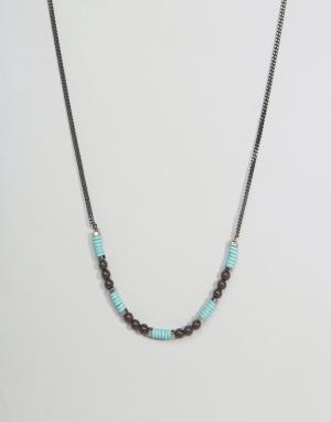 Icon Brand Серебристое ожерелье-цепочка с бусинами. Цвет: мульти