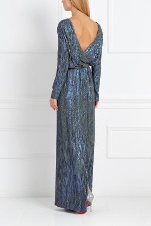 Шелковое платье с пайетками Alexander Terekhov. Цвет: синий