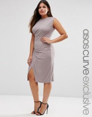 ASOS Curve Платье миди для беременных с драпировкой. Цвет: розовый