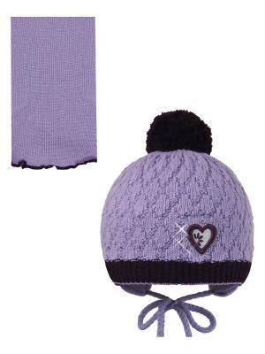 Шапка, шарф Pro-han. Цвет: сиреневый, фиолетовый