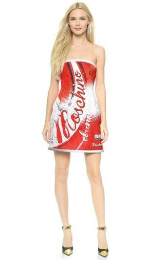 Платье без бретелек Soda Moschino. Цвет: мульти