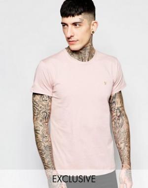 Farah Эксклюзивная футболка слим с логотипом F. Цвет: розовый