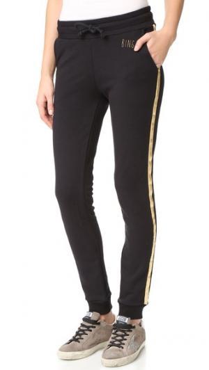 Спортивные брюки с золотистыми полосками ANINE BING. Цвет: голубой