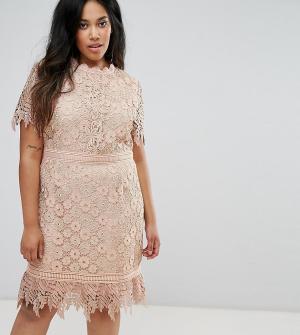 Truly You Кружевное платье мини со вставками. Цвет: розовый