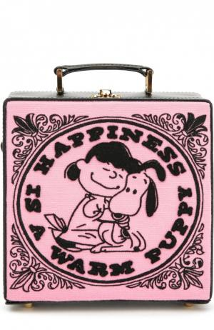 Сумка-сундук 7 inch с вышивкой Olympia Le-Tan. Цвет: розовый