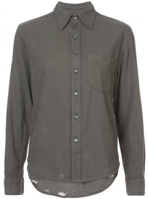 Рубашка с потертой отделкой NSF. Цвет: зелёный