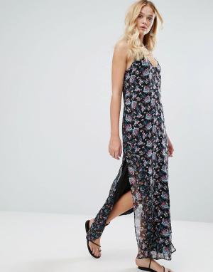 Walter Baker Платье с цветочным принтом Dakota Rose Garden. Цвет: черный