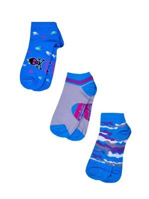 Носки женские,комплект 3шт Malerba. Цвет: голубой