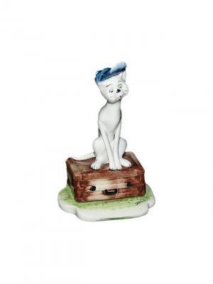 Статуэтка Кот с чемоданом Zampiva. Цвет: коричневый, белый, голубой