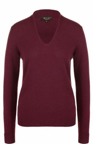Кашемировый пуловер с V-образным вырезом Loro Piana. Цвет: бордовый