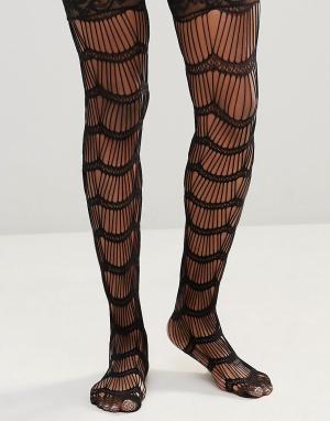 Leg Avenue Носки с рельефной и кружевной отделкой Stay Up. Цвет: черный