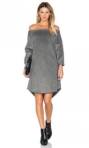 Платье со спущенными плечами BLAQUE LABEL. Цвет: уголь