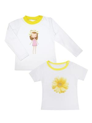 Набор одежды: футболка, джемпер Коллекция Ромашки КОТМАРКОТ. Цвет: белый, желтый