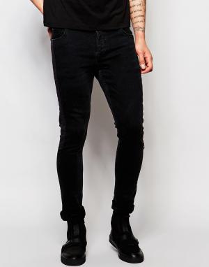 Dark Future Черные супероблегающие джинсы. Цвет: черный