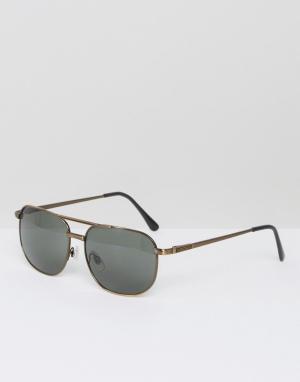 AJ Morgan Квадратные солнцезащитные очки бронзового цвета Gunny. Цвет: золотой
