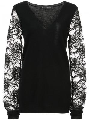 V-neck pullover with lace sleeves Sally Lapointe. Цвет: чёрный