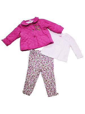 Комплект из 3-х предметов Цветочная фантазия Little Me. Цвет: белый, розовый