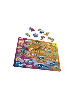 Пазл Динозавры LARSEN AS. Цвет: белый, голубой, желтый, зеленый, оранжевый, синий