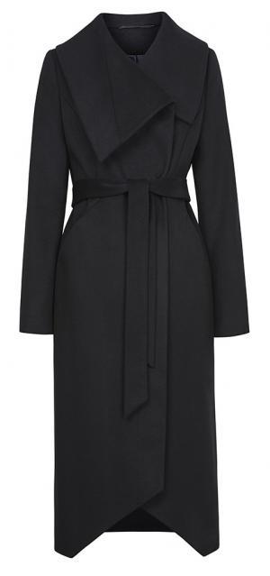 Приталенное пальто из вирджинской шерсти и кашемира с поясом Элема