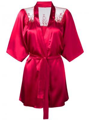 Кимоно с кружевной отделкой Fleur Of England. Цвет: розовый и фиолетовый