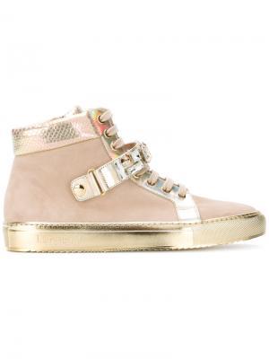 Кроссовки с золотистой панелью Loriblu. Цвет: коричневый