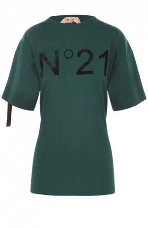 Футболка свободного кроя с декоративной отделкой и принтом No. 21. Цвет: зеленый