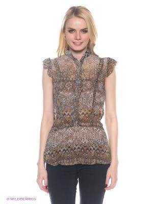 Блузка E.A.R.C.. Цвет: коричневый, серый