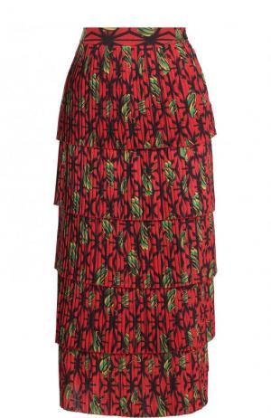 Многоярусная плиссированная юбка-миди с принтом Stella Jean. Цвет: красный
