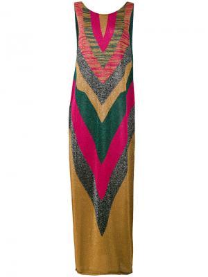Вязаное платье с V-образным узором Circus Hotel. Цвет: розовый и фиолетовый