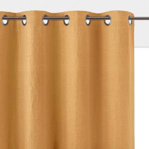 Штора затемняющая из стираного льна с люверсами, ONEGA La Redoute Interieurs. Цвет: охра