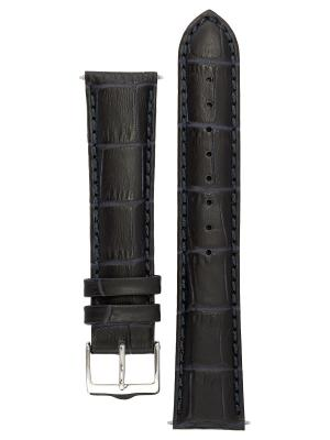 Классический ремешок для часов из кожи теленка с фактурой под аллигатора. Ширина от 14 до 24 мм. Signature. Цвет: темно-синий