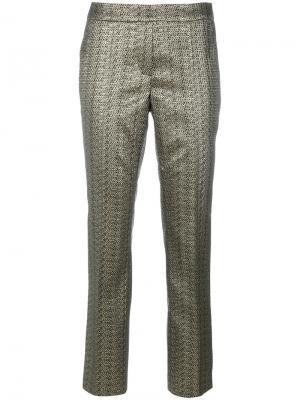 Прямые брюки с металлическим отблеском Luisa Cerano. Цвет: коричневый