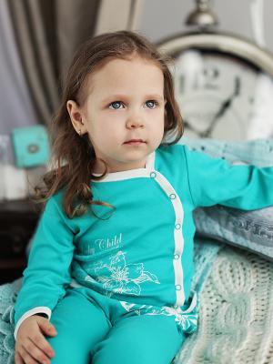Кофточка Lucky Child. Цвет: бирюзовый, белый