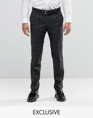 Noak Супероблегающие строгие брюки в клетку. Цвет: черный