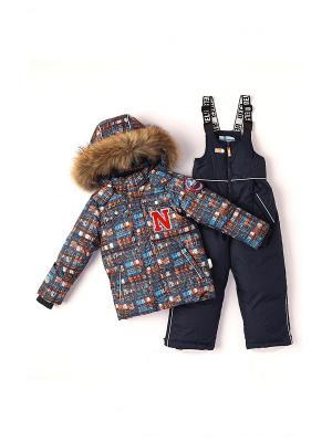 Комплект одежды NELS. Цвет: серый меланж, розовый, темно-серый