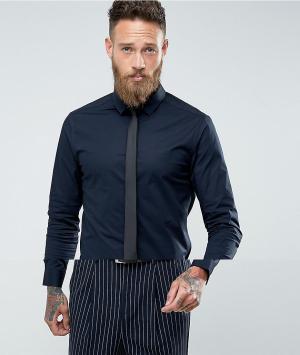 ASOS Темно-синяя рубашка скинни с черным галстуком. Цвет: темно-синий