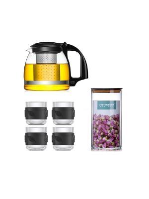 Набор LP-ZJ906 Чайник заварочный 900 мл + 4 чашки по 150 банка для хранения чая, 750 Veitron. Цвет: черный, прозрачный