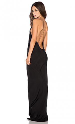 Платье с длинным вырезом TITANIA INGLIS. Цвет: черный