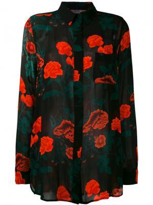 Рубашка с цветочным принтом Ganni. Цвет: чёрный