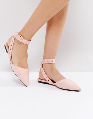 Raid Розовые туфли на плоской подошве с ремешком щиколотке. Цвет: бежевый