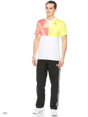 Футболка спортивная Adidas. Цвет: белый, розовый, салатовый