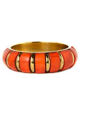 Браслет из кости и латуни Indira. Цвет: оранжевый