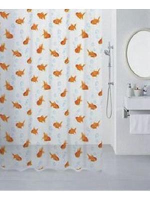 Штора для ванной (Gold Fish) 180*180 Bath Plus. Цвет: оранжевый, белый