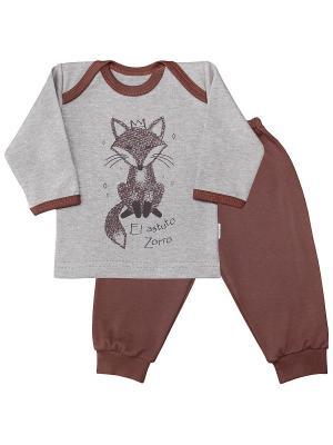 Пижама Веселый малыш. Цвет: темно-коричневый,серый меланж