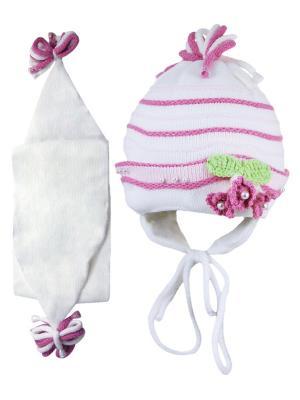 Шапка и шарф Grans. Цвет: белый, розовый