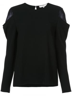 Блузка с контрастными панелями на плечах Tibi. Цвет: чёрный