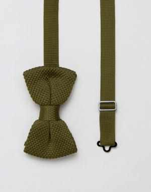 7X Вязаный галстук-бабочка. Цвет: зеленый