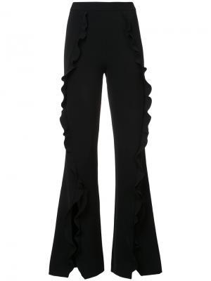 Расклешенные брюки с оборками Saloni. Цвет: чёрный